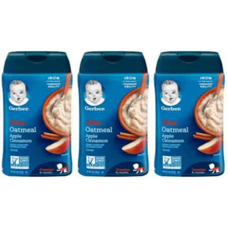 (3 Pack) GERBER LIL' BITS Oatmeal Apple Cinnamon Baby Cereal, 8 oz