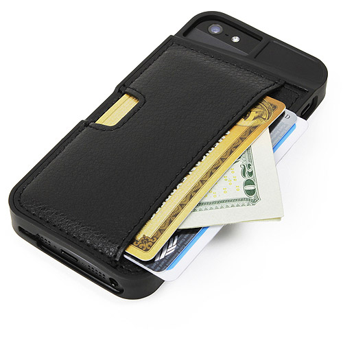 iPhone 5/S/SE Wallet Case - Q Card Case for iPhone 5/5S/SE by CM4 - Protective Wallet Cover (Black Onyx)