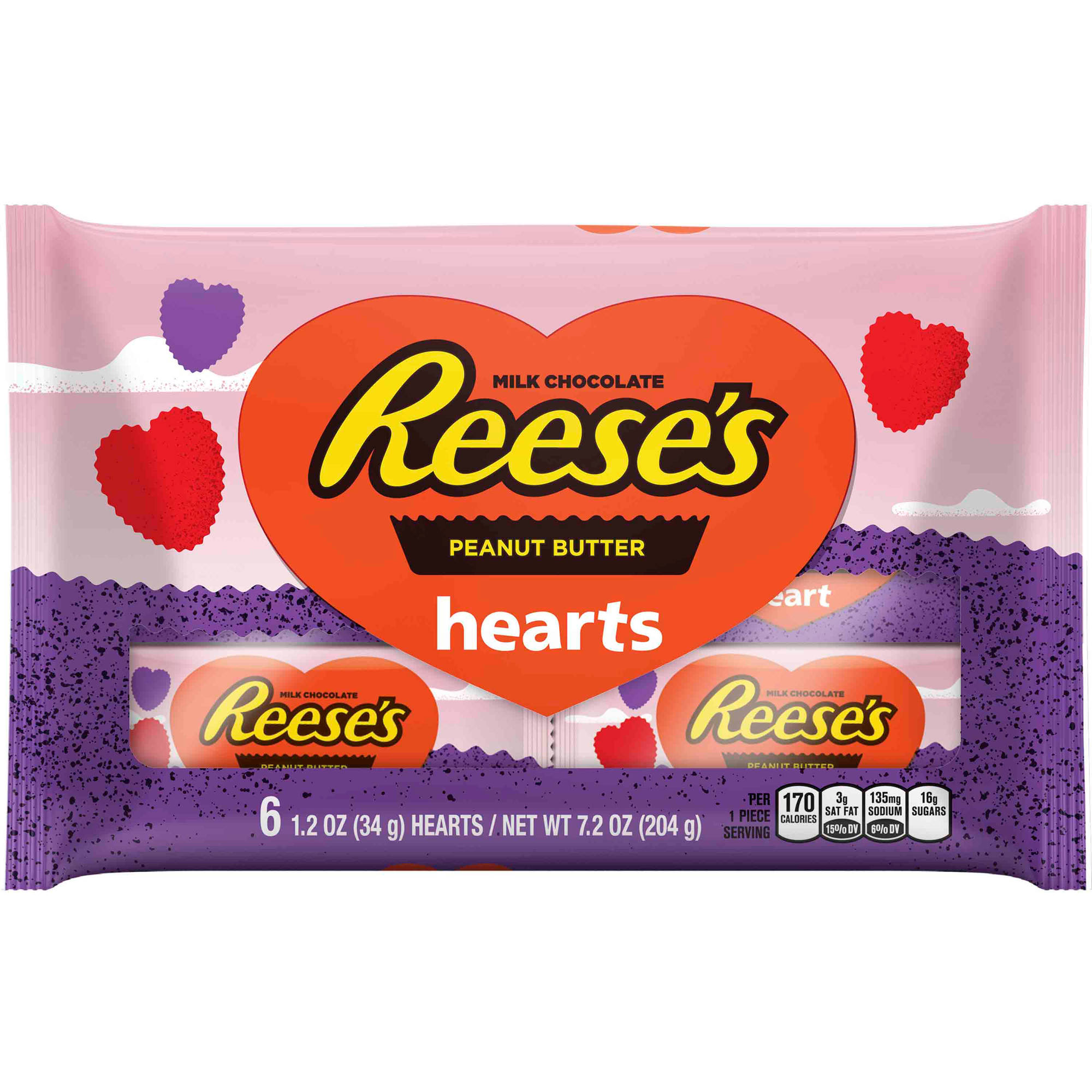 Reese's Peanut Butter Valentine's Hearts, 1.2 oz, 6ct