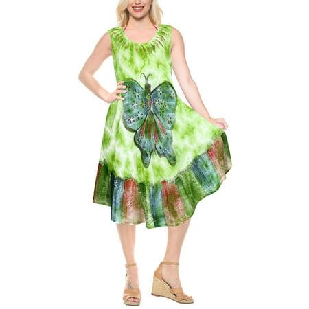 Women Swim Boho Rayon Tie Dye Embroidered Loose Tank Smock Dress Holiday Summer Evening Party Beach Sundress AL