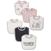 Gerber Cotton Blend Bunny Drool and Feeding Baby Bib, 6pk Girls
