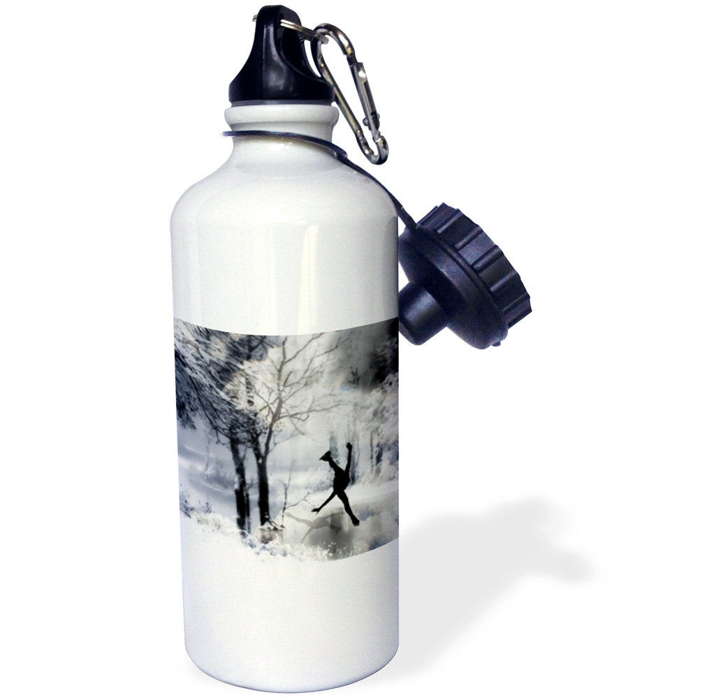3dRose Figure Skater Silhouette Skating on a frozen pond in a beautiful winter snow scene, Sports Water Bottle, 21oz by 3dRose