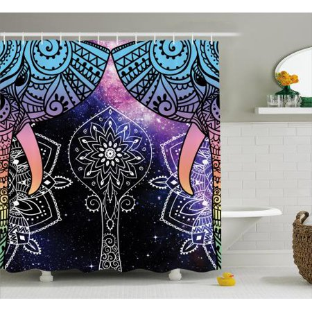Indian Shower Curtain  Elephant Faces On The Foreground Of Space Galaxy With Milky Way Sacred Occult Theme  Fabric Bathroom Set With Hooks  69W X 70L Inches  Purple Blue  By Ambesonne