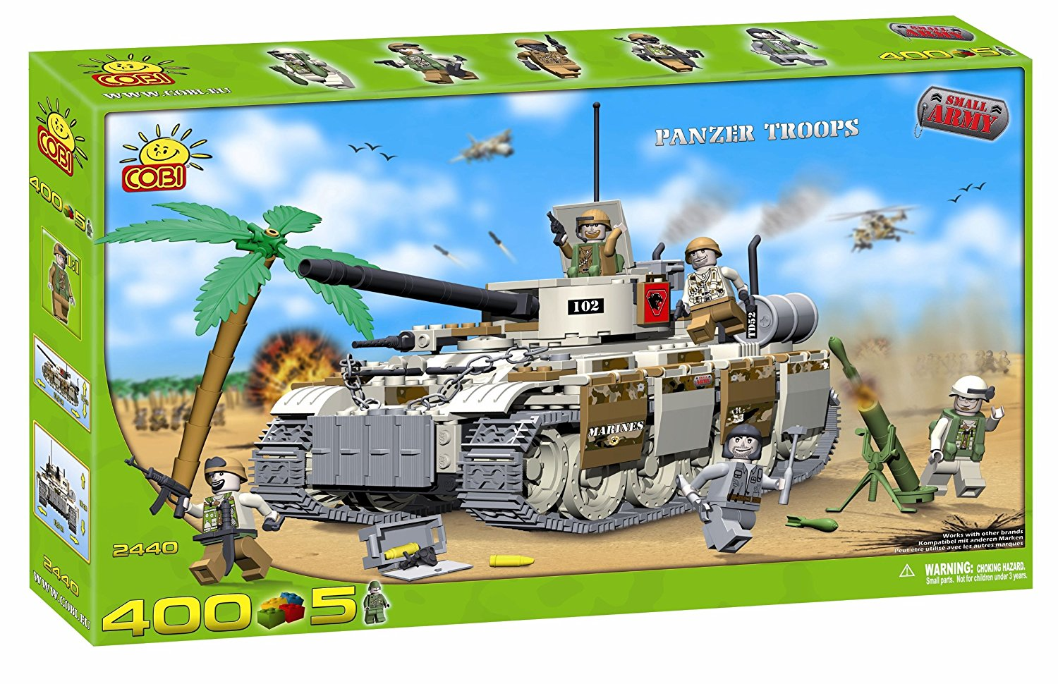 New! COBI Small Army Panzer Tank With Troops 400 Piece Building Block Set by