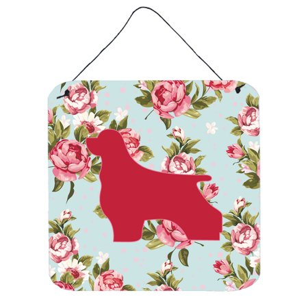 Cocker Spaniel Shabby Chic Blue Roses Wall or Door Hanging Prints BB1075 ()