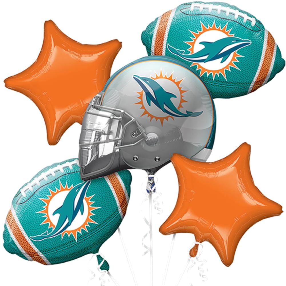 Anagram NFL Miami Dolphins Team Football Bouquet 5pc Balloon Pack, Aqua Orange