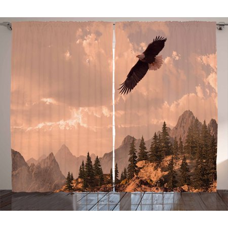 Eagle Curtains 2 Panels Set, Nature Photography of Rocky Mountains and Forest with a Bald Eagle Flying over It, Window Drapes for Living Room Bedroom, 108W X 63L Inches, Rose Green, by Ambesonne