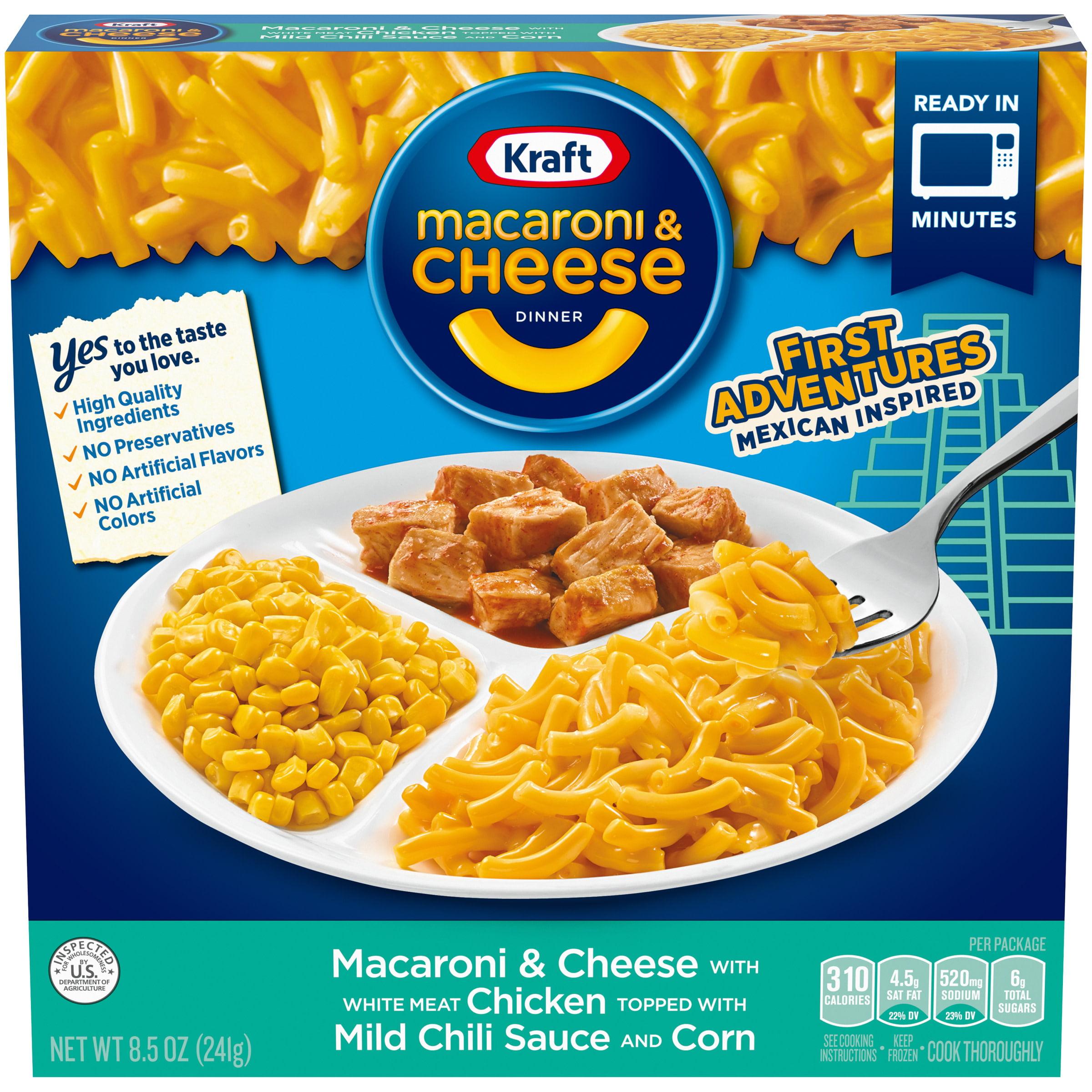 Kraft First Adventures Mexican Inspired Macaroni Cheese Frozen Dinner With Fajita Chicken Mild Chili Sauce Corn 8 5 Oz Box Walmart Com Walmart Com