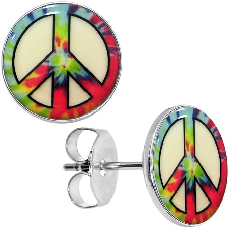 Glow In The Dark Ties (Body Candy Stainless Steel Tie Dyed Peace Sign Glow in the Dark Stud)