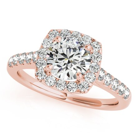1 Carat Halo Round Diamond Hand-Crafted Engagement Ring In 14k Rose Gold ()