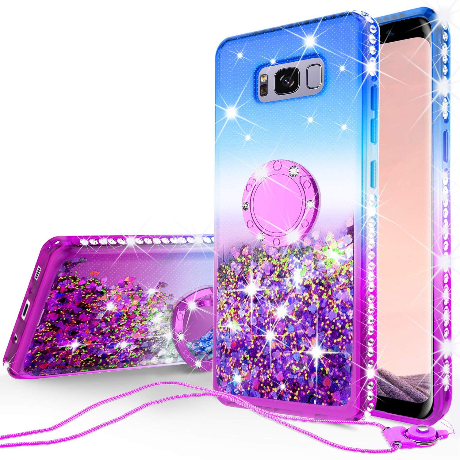 Samsung Galaxy S8 Liquid Floating Quicksand Glitter Phone Case Kickstand,Bling Diamond Bumper Ring Stand Protective Galaxy S8 Case for Girl Women - Purple