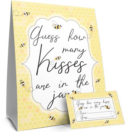 How Many Kisses Bumble Bee Baby Shower, What Will It Bee Gender Reveal, or Bee Birthday Party Game | Standing Sign and 30 Guess Cards](Party City 30 Birthday)