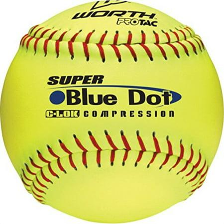 Worth 47/525 Synthetic Blue Dot Yellow Softball, 3-Inch (One Dozen)