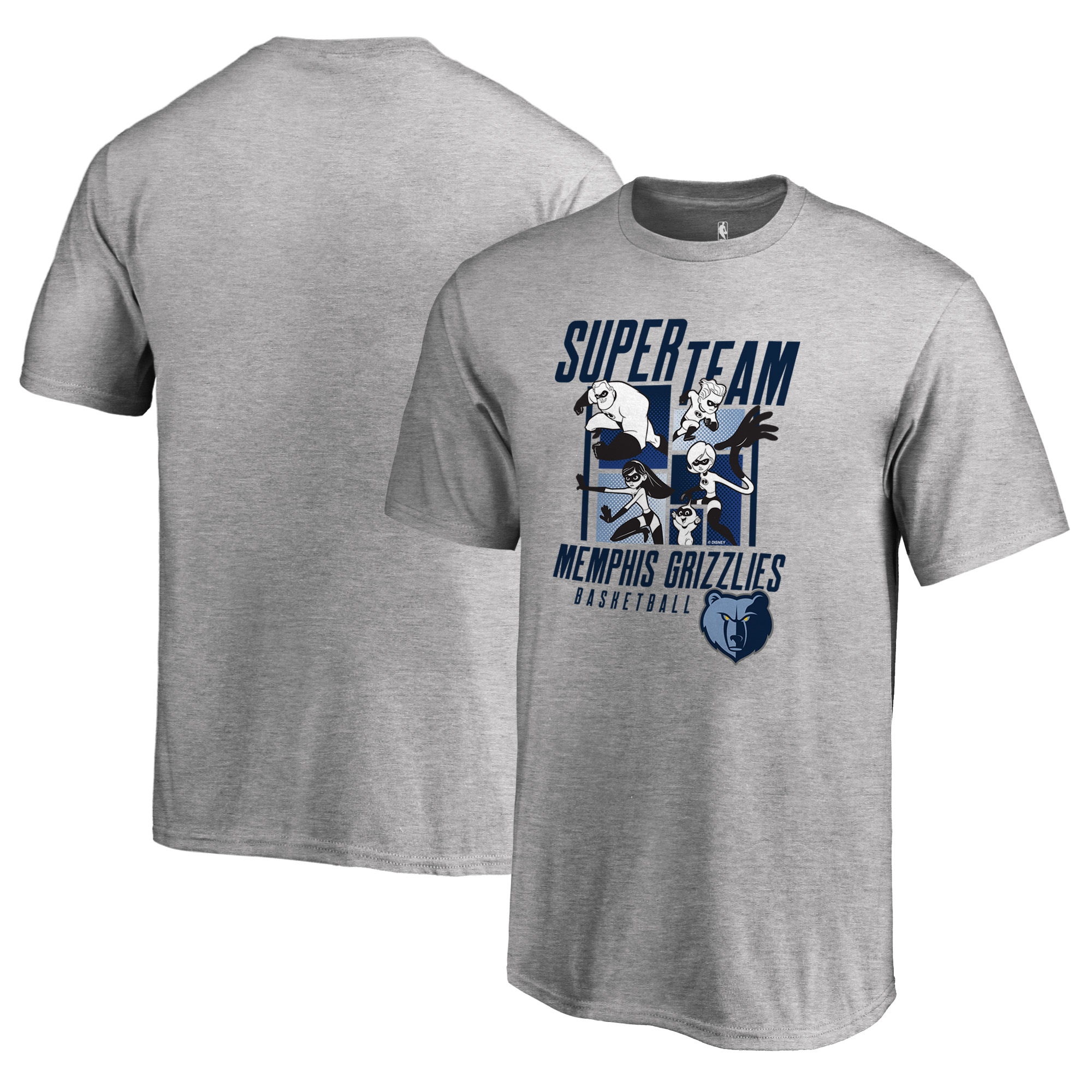 Memphis Grizzlies Fanatics Branded Youth Disney Pixar The Incredibles Super Team T-Shirt - Heathered Gray