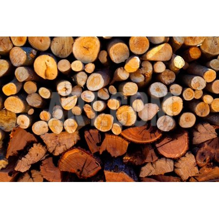 Inner Fire Art - Firewood Stacked Fire Wood with Different Sizes Print Wall Art By holbox