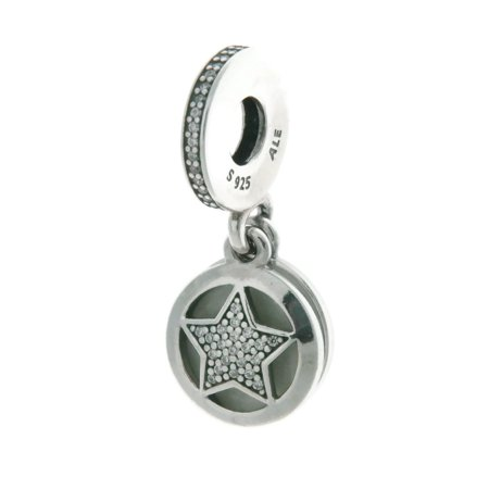 - Authentic Star Dangle Charm, Silver Enamel, Engraving & CZ 792148EN23