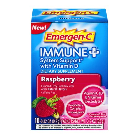 Emergen C Immune  System Support With Vitamin D Dietary Supplement Drink Mix  0 32 Ounce Packets  Caffeine Free  Raspberry Flavor  10 Count