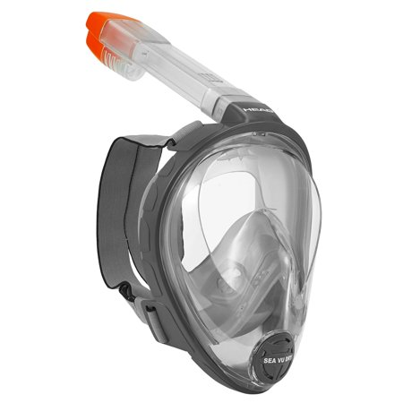 Head Sea Vu Dry Full Face Anti Fog L/XL Adults Snorkeling Scuba Swim Mask, Grey