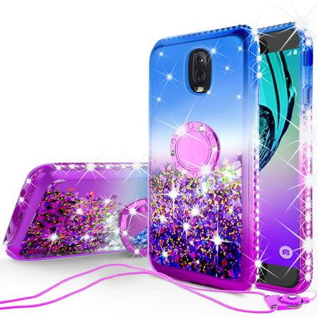 Samsung Galaxy J7 Star,J7 2018,J7v 2nd Gen,J7 Refine,J7 Aura Case,Glitter Floating Quicksand