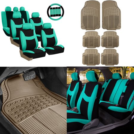 FH Group, 7 Seater 3 Row Mint Seat Covers for SUV Van Accesory Combo w/ Beige Floor Mats