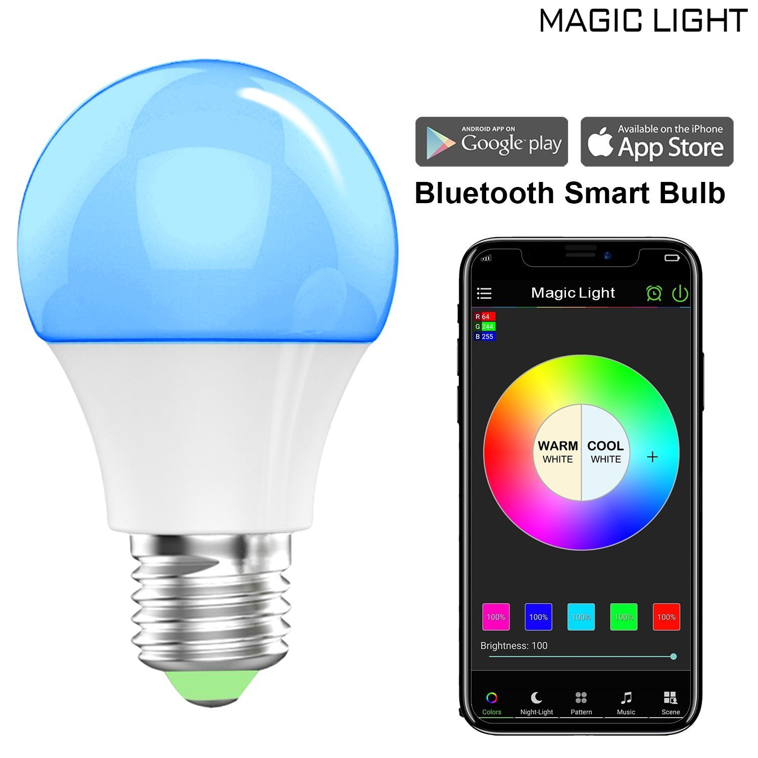 MagicLight Bluetooth Color Smart A19 Light Bulb, 40W Equivalent, No Hub Required