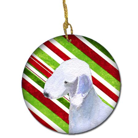 Bedlington Terrier Candy Cane Holiday Christmas Ceramic Ornament (Bedlington Terrier Ornaments)