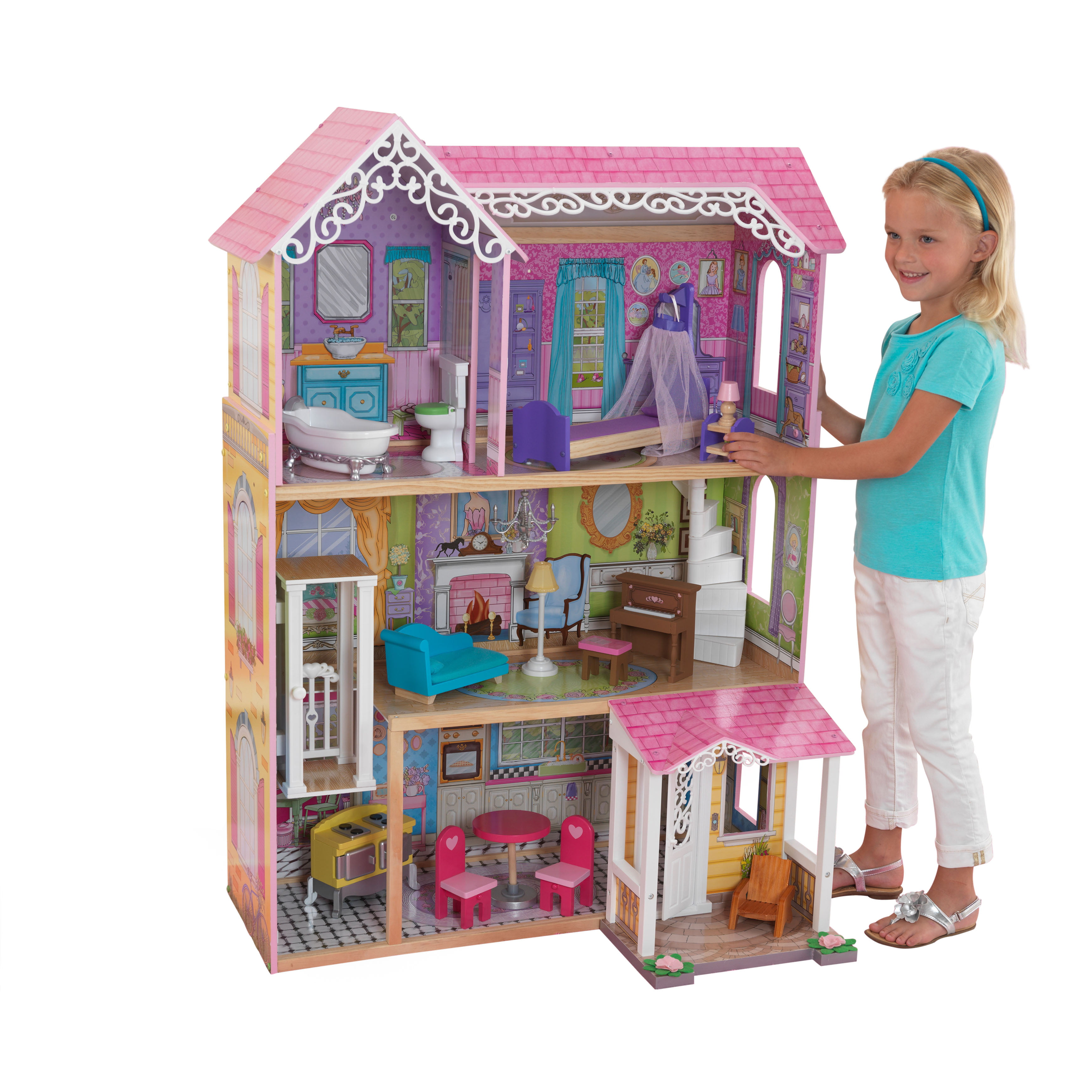 Kidkraft Wooden Sweet Pretty Dollhouse With Elevator And 15 Piece