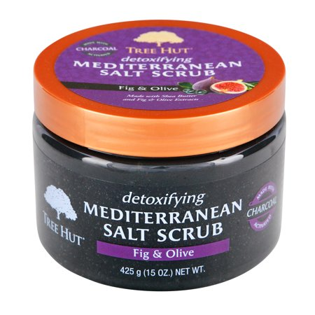 Tree Hut Detoxifying Mediterranean Salt Scrub Fig & Olive, 15oz, Ultra Hydrating and Exfoliating Scrub for Nourishing Essential Body (Green Tea Herbal Salt Scrub)
