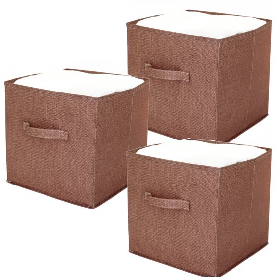 cube storage bins collapsible fabric print linen 3 pieces. Black Bedroom Furniture Sets. Home Design Ideas