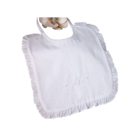 Little Things Mean A Lot White Cotton Embroidered Ruffled Bib