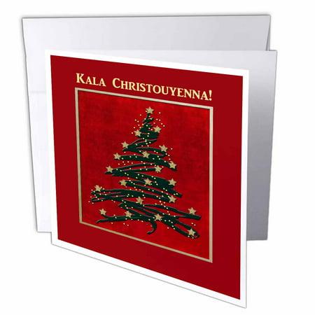 Greek Christmas.3drose Kala Christouyenna Merry Christmas In Greek Christmas Tree On Red Greeting Cards 6 X 6 Inches Set Of 6