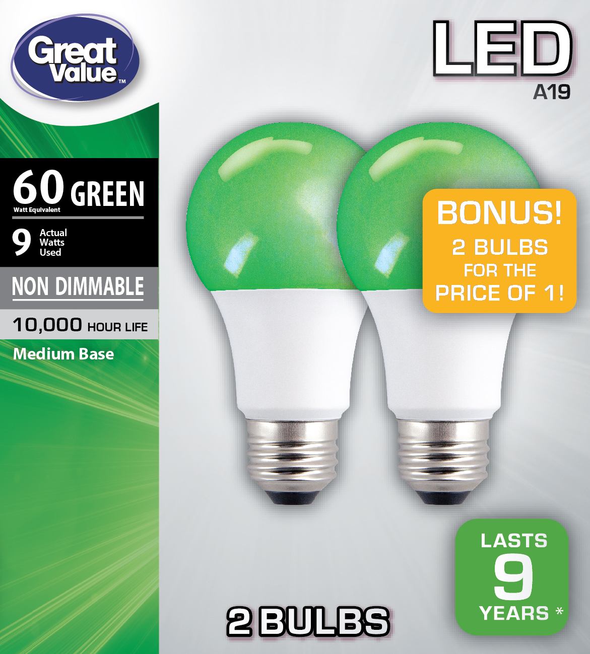 Great Value LED A19 (E26) Light Bulb, 9W (60W Equivalent), Green, 2-Pack