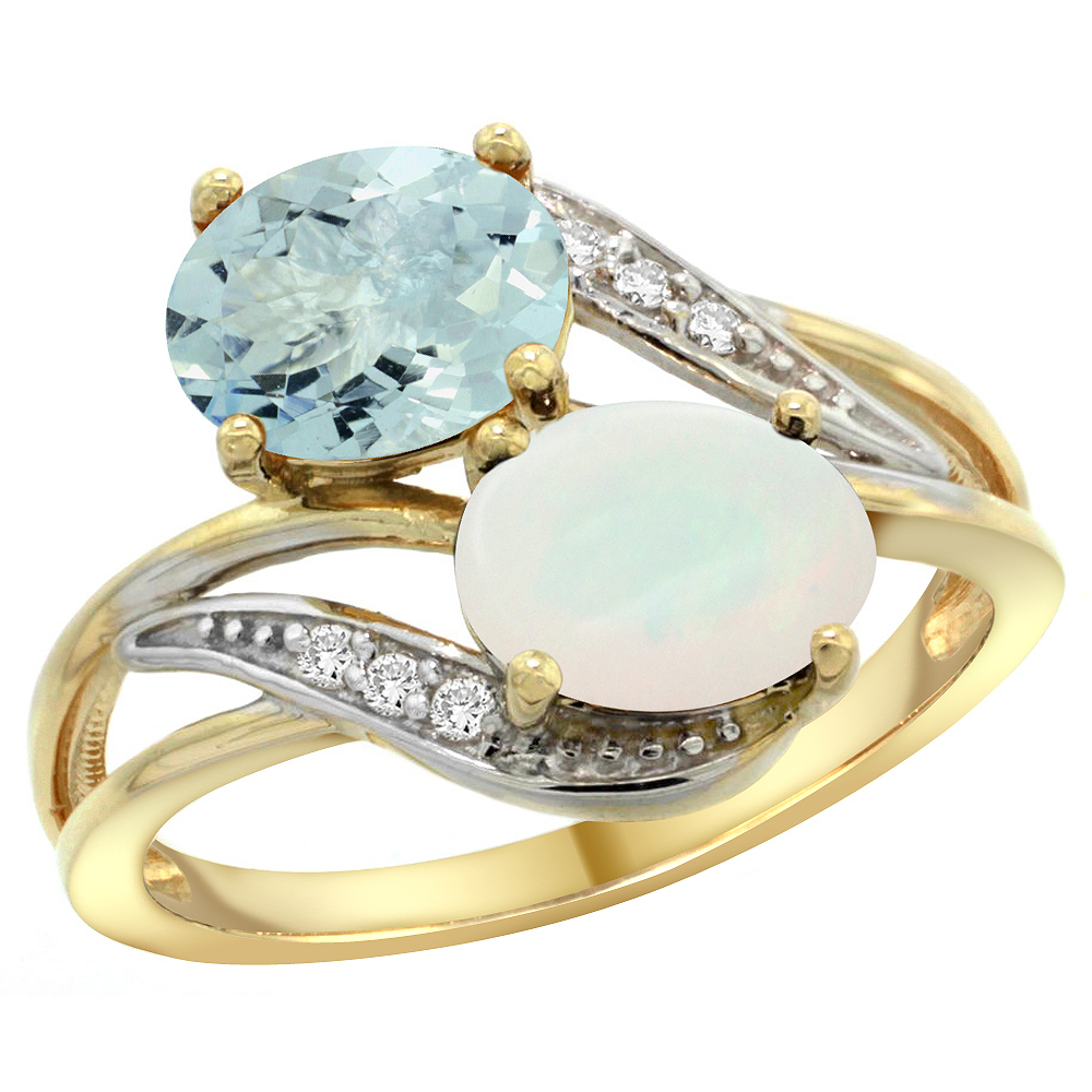 10K Yellow Gold Diamond Natural Aquamarine & Opal 2-stone Ring Oval 8x6mm, sizes 5 10 by WorldJewels