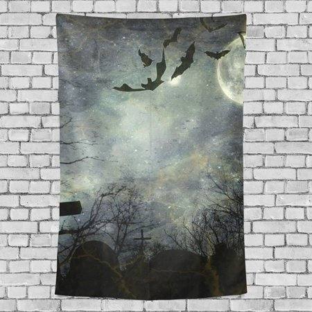 POPCreation Bats Flying Bright Full Moon Wall Tapestry Halloween Dorm Throw Bedroom Living Room Decorative Hanging 40x60 inches - Quilted Halloween Wall Hangings