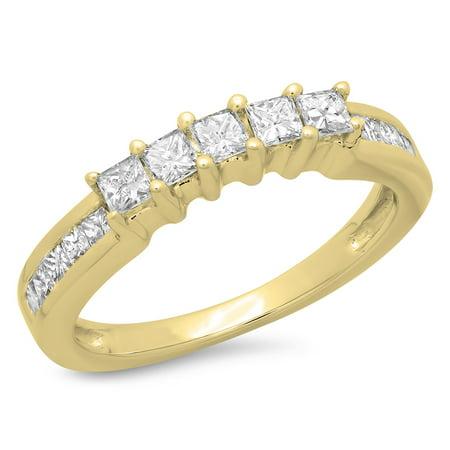 - 0.55 Carat (ctw) 14K Gold Princess Cut Diamond Ladies Anniversary Wedding Curved Stackable Ring 1/2 CT