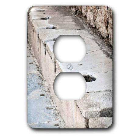 Design Public Outlet - 3dRose Scholastica Baths - latrines, toilets, ephesus, roman ruins, ruins, public toilets,bathroom - 2 Plug Outlet Cover (lsp_51711_6)