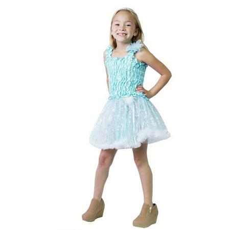 Calla Collection Little Girls Aqua Ruched Glitter Accents Halloween Dress](Little Girl Upset On Halloween)
