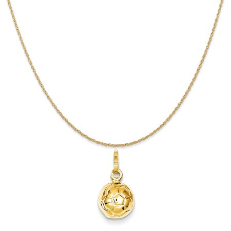 14k Yellow Gold 3-D Soccer Ball Charm on a 14K Yellow Gold Rope Chain Necklace, 16