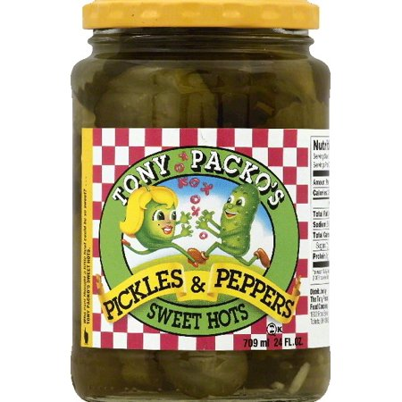 Tony Packos Sweet Hots Pickles   Peppers  24 Oz