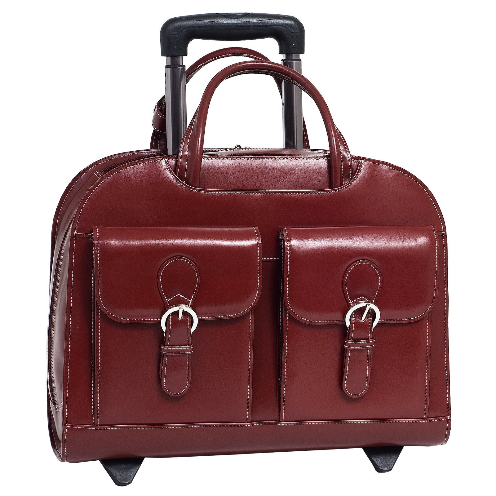 Leather Non-Detachable Wheeled Ladies Laptop Case in Red