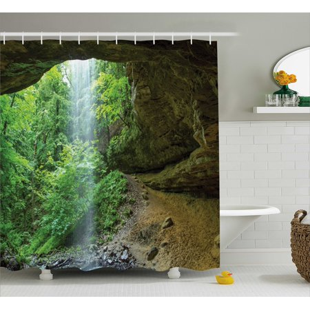 Nature Shower Curtain Canyon Michigan Caves Memorial Falls In The Forest Eco Foliage Picture Fabric Bathroom Set With Hooks Army And Fern Green