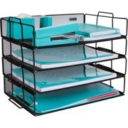 Stackable Paper Tray Desk Organizer ? 4 Tier Metal Mesh Letter Organizers for Business, Home, School, Stores and More, Organize Files, Folders, Letters, Paper, Binders