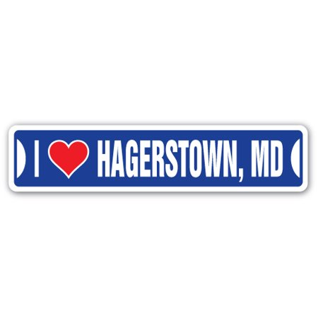 I Love Hagerstown  Maryland Street Sign Md City State Us Wall Road Gift