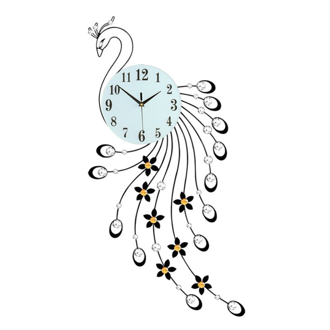 "Magshion 3D Large Peacock Crystals Design Iron Wall Clock W/ Wall Hooks 38.2""L 16.9""W"