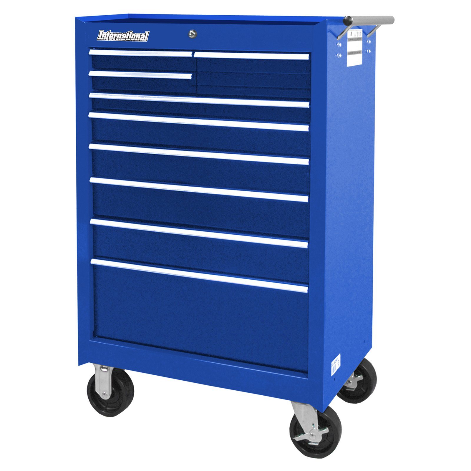 "International Workshop Series 27"" 9-Drawer Ball Bearing Slides Roller Cabinet, Blue"