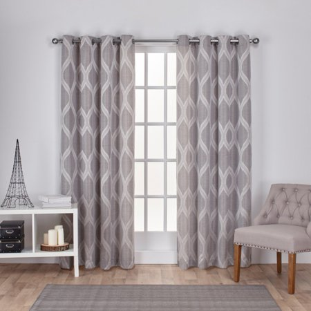 Exclusive Home Curtains 2 Pack Montrose Ogee Geometric Textured Linen Grommet Top Curtain Panels