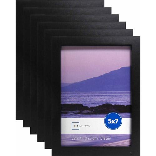 "Mainstays 5"" x 7"" Black Linear Frame, Set of 6"