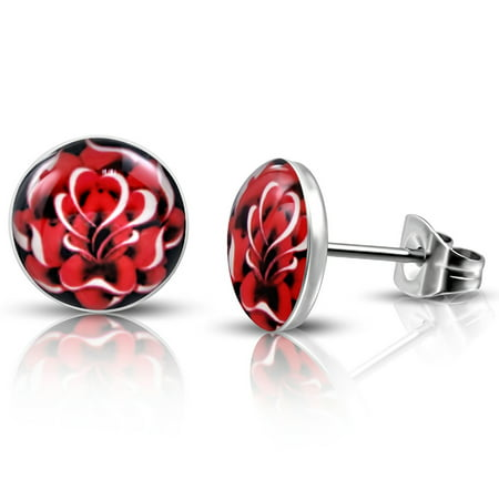 Stainless Steel Fire Red Floral Rose Circle Round Button Stud Post Earrings