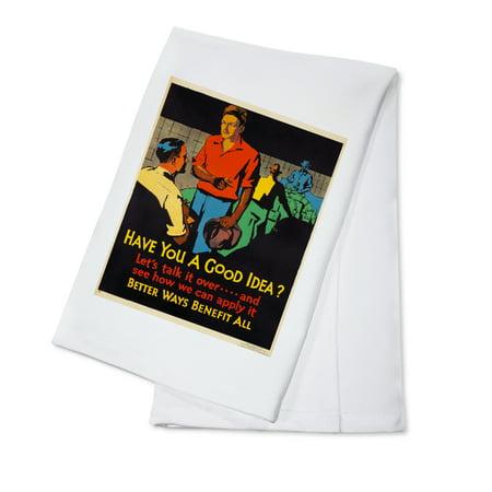 Mather - Have You a Good Idea? Vintage Poster (artist: Beatty) USA c. 1929 (100% Cotton Kitchen Towel)