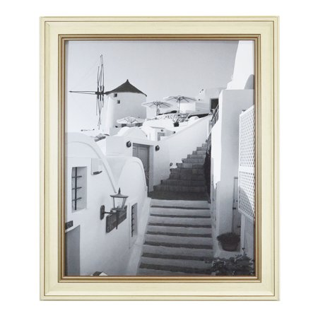 Golden State Art, 16x20 Picture Frame, Color: Cream with with Brown Trim, with Real Glass - Embossed Frame Cream